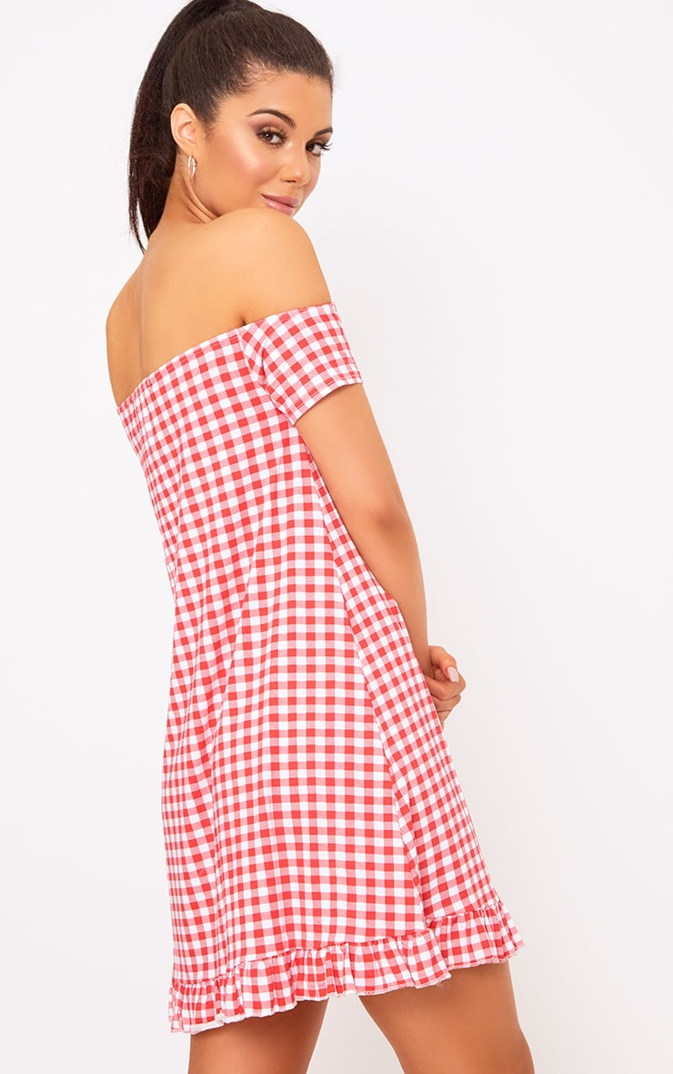 Red Gingham Bardot Frill Hem Swing Dress  2