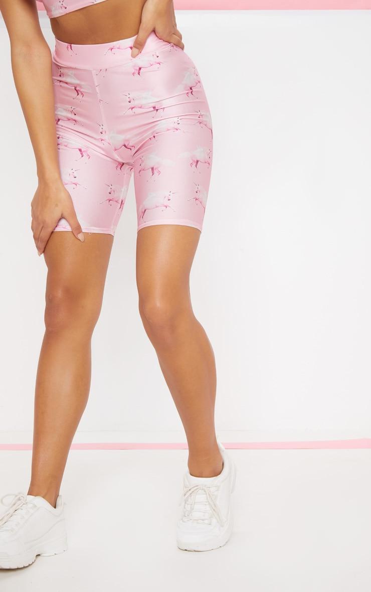 PRETTYLITTLETHING Pink Unicorn Print Bike Short 3