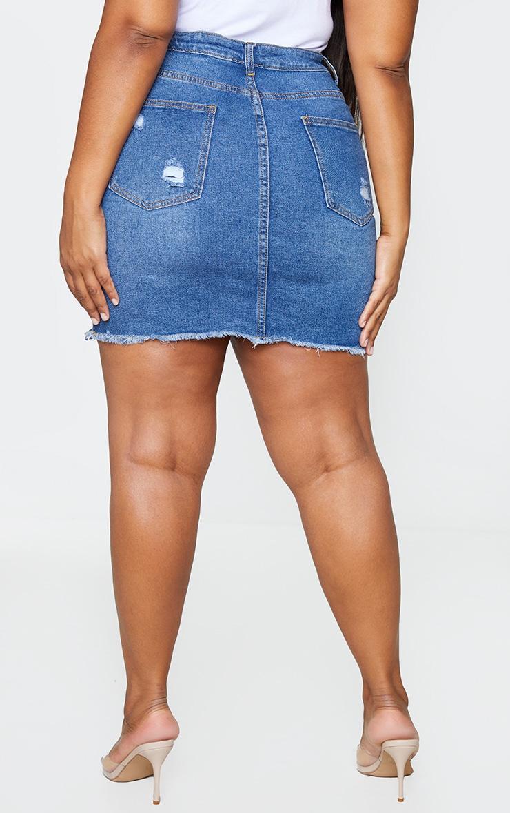 Plus Dark Wash Ripped Rip Denim Mini Skirt 3