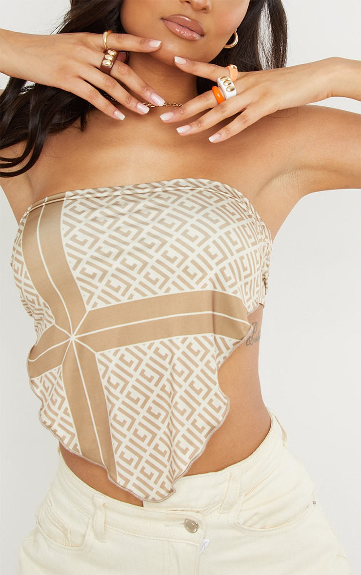 Beige Soft Touch Abstract Print Bandeau Handkerchief Top 4