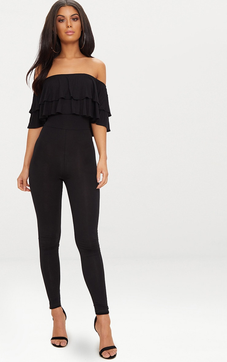 Black Jersey Double Frill Jumpsuit 1