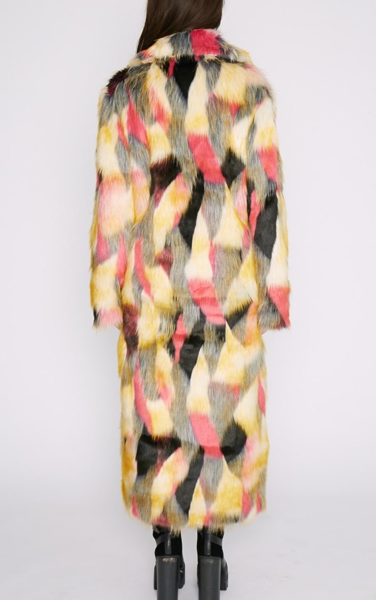 Mirabelle Multi-Coloured Longline Faux Fur Coat 2