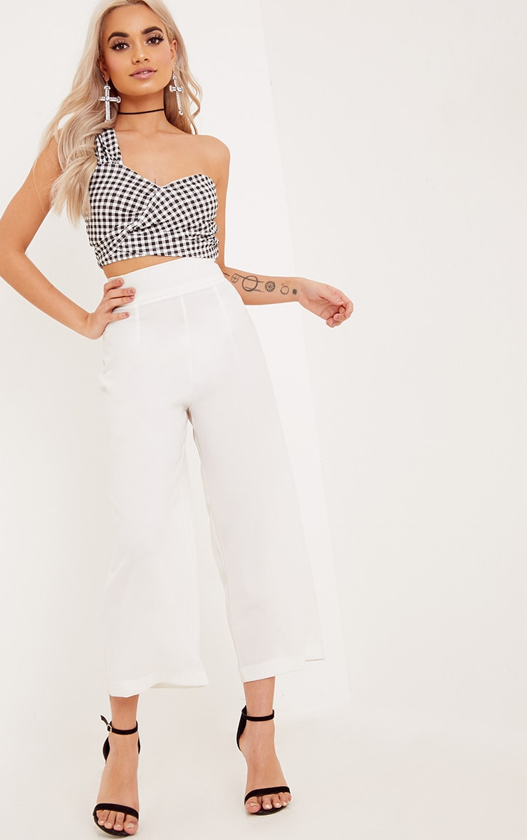 Rozanne Black Gingham Printed Wrap Crop Top 4