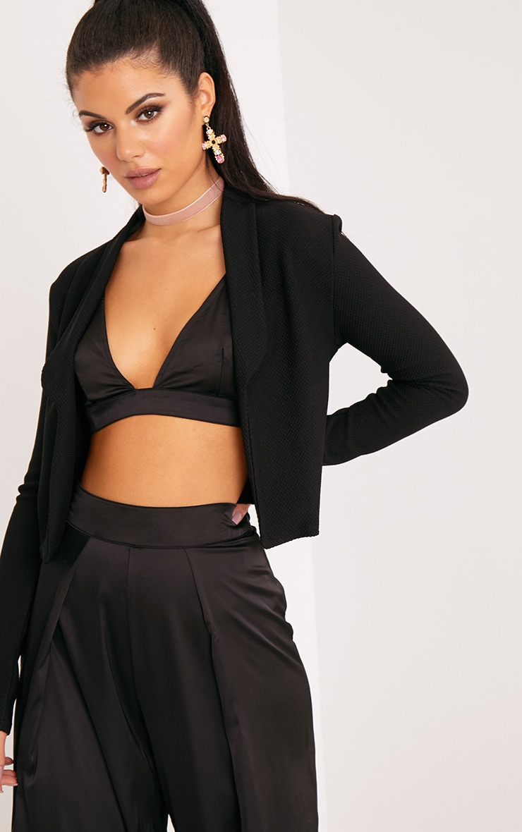 Irie Black Cropped Textured Blazer 1