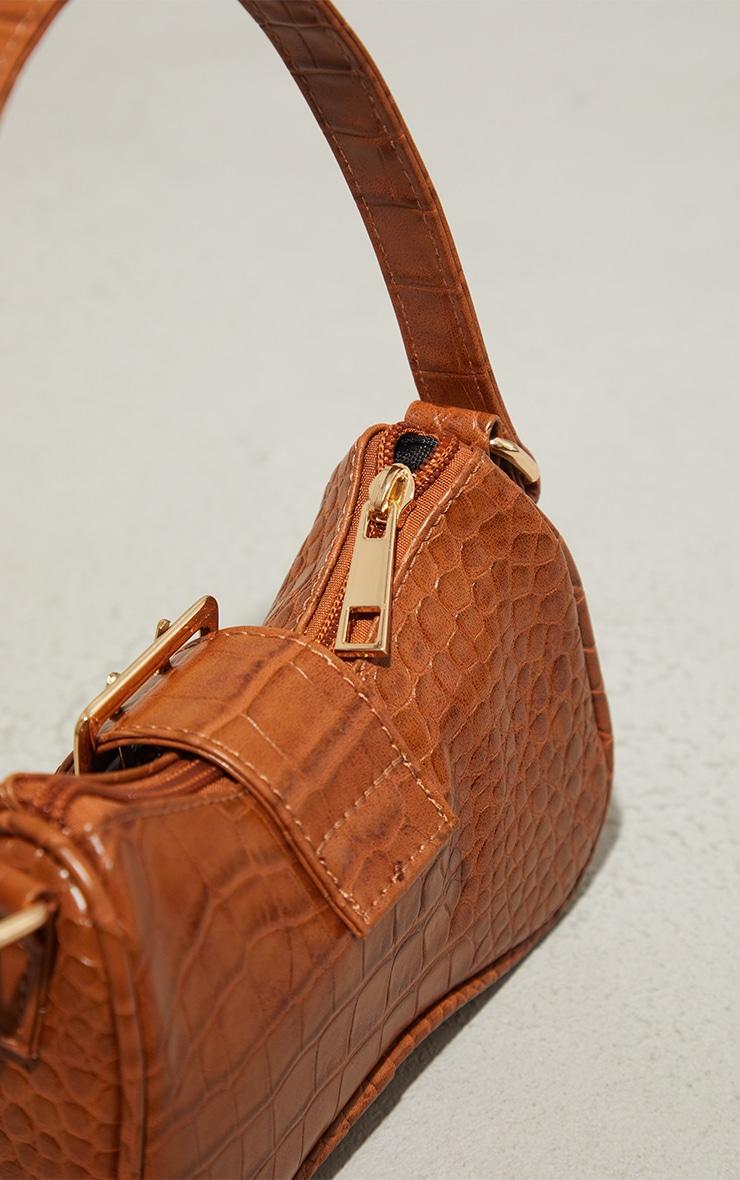 Tan Croc Buckle Mini Shoulder Bag 3
