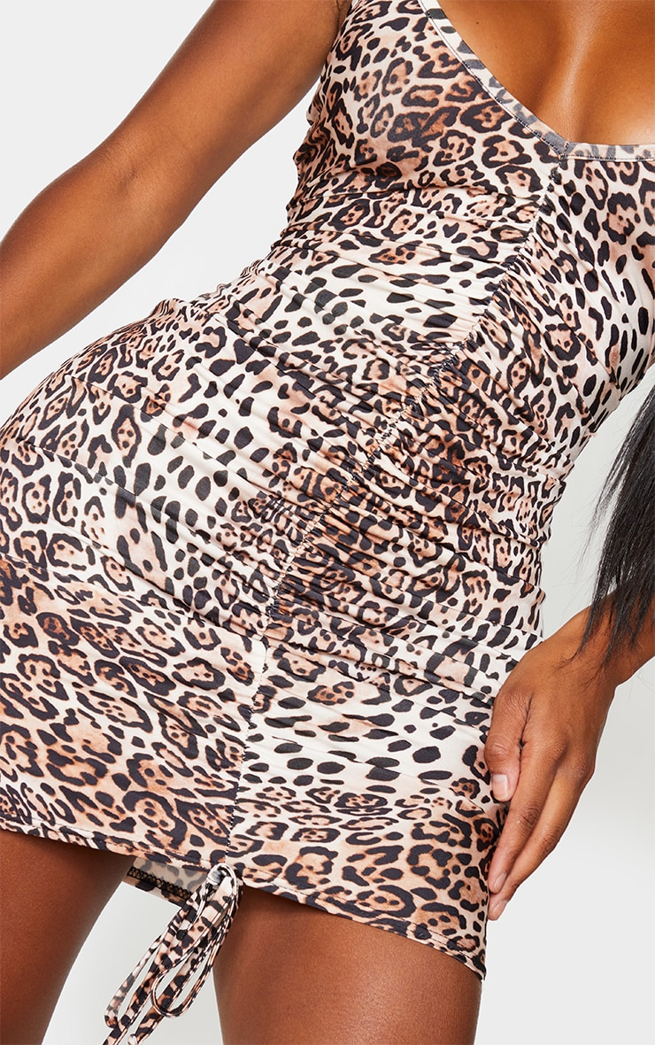 Shape Brown Leopard Print Slinky Ruched Front Strappy Bodycon Dress 4