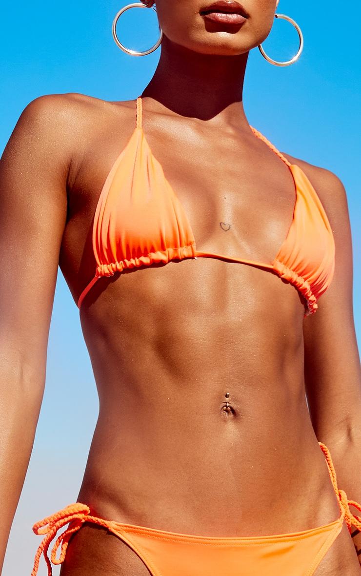 Orange Recycled Plait Triangle Bikini Top 4