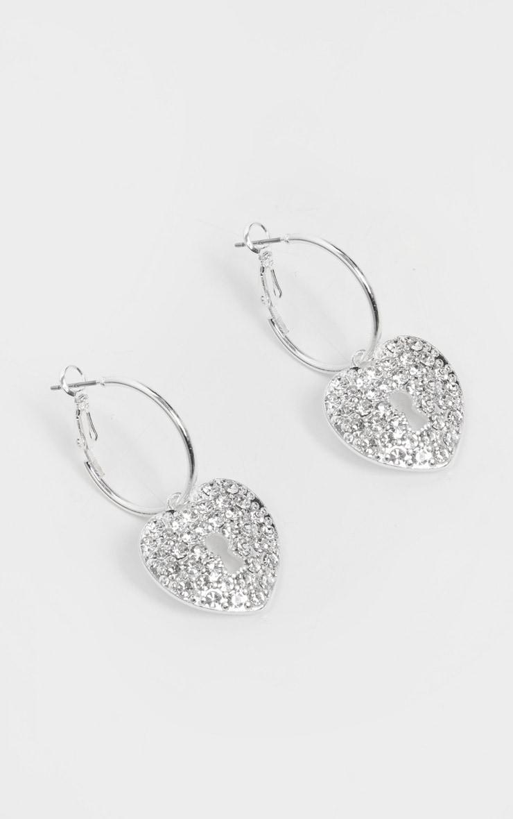 Silver Mini Hoops With Heart Padlock Earrings 2