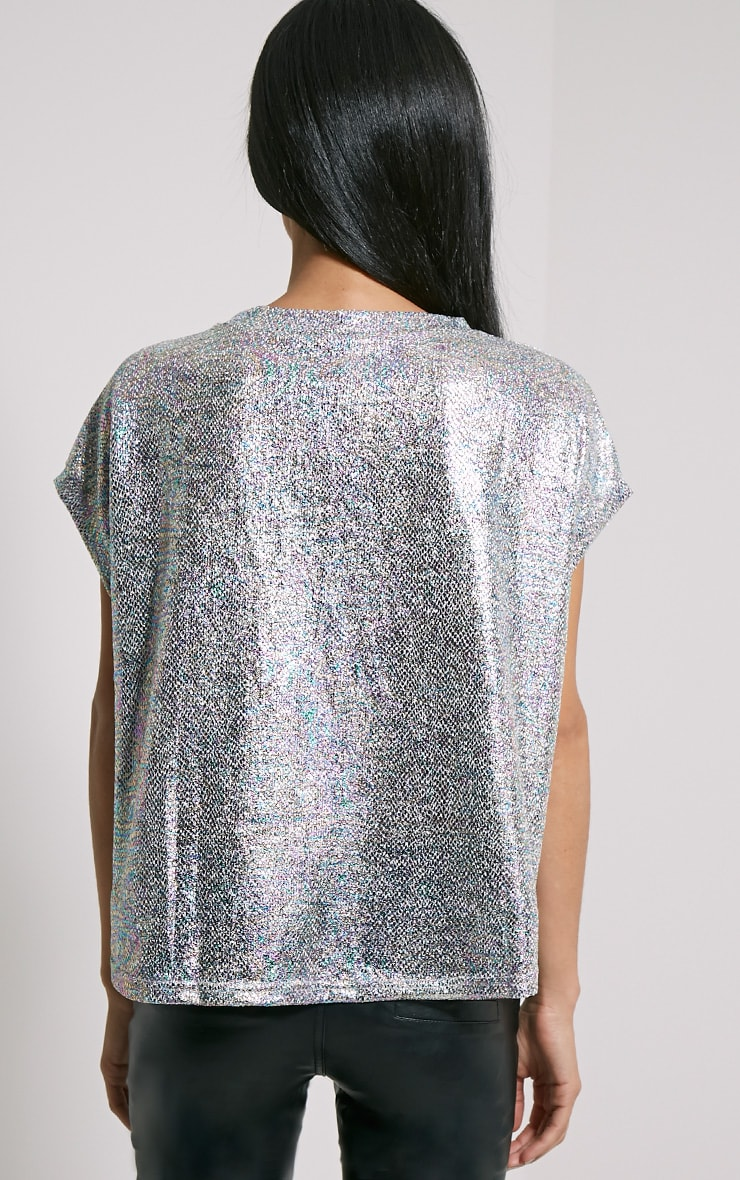 Sabina Metallic Hologram Print Oversized T-Shirt 2