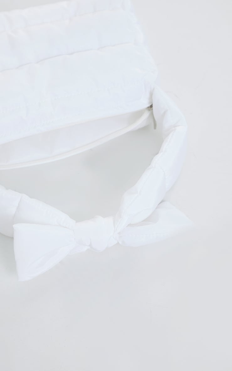 White Quilted Tie Strap Grab Bag 4