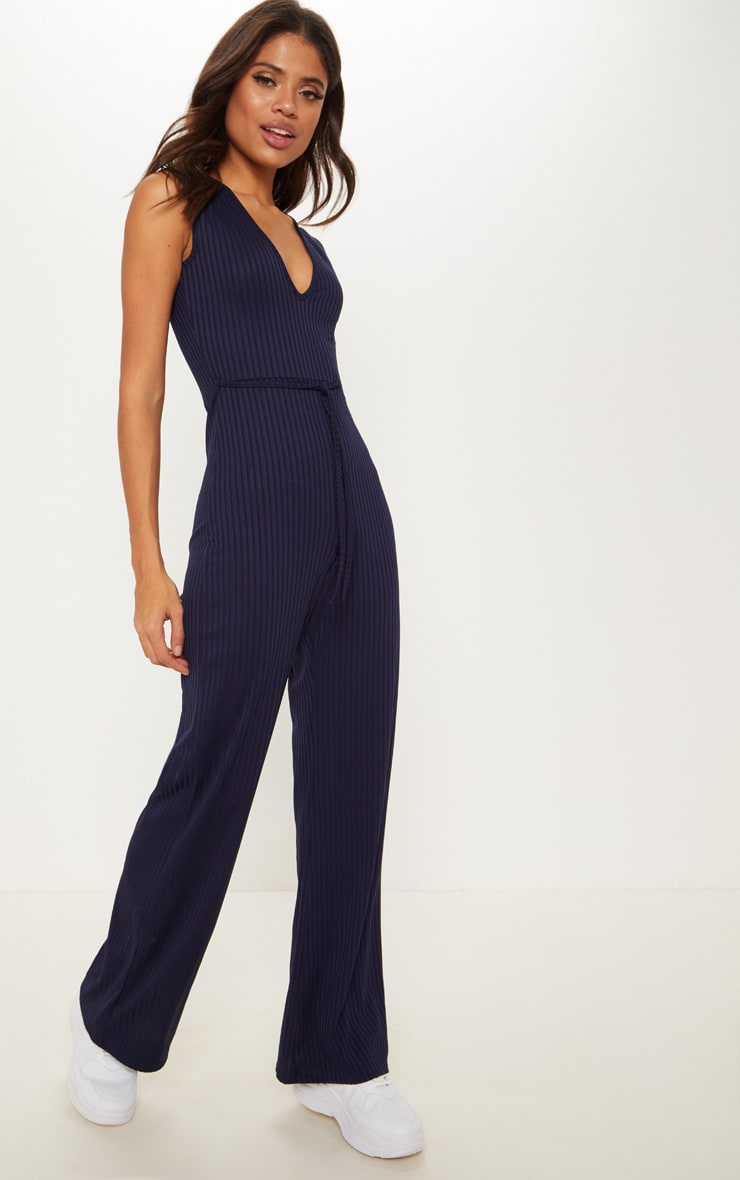 Navy Ribbed Tie Waist Wide Leg Jumpsuit 1