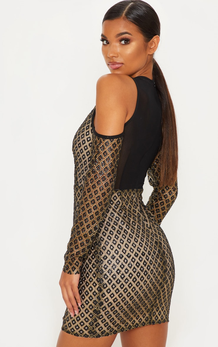 Gold Diamond Glitter Cold Shoulder Bodycon Dress 2