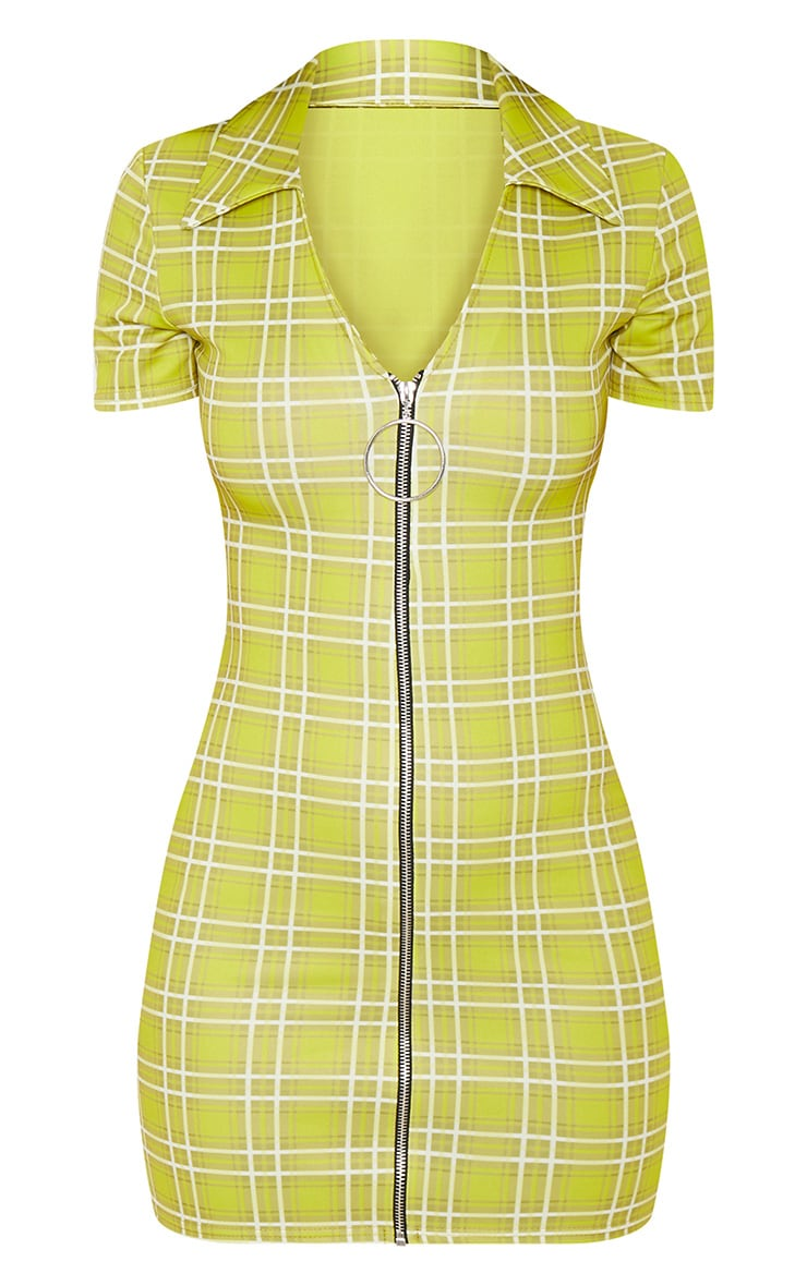 Lime Green Check Ring Pull Bodycon Dress 4