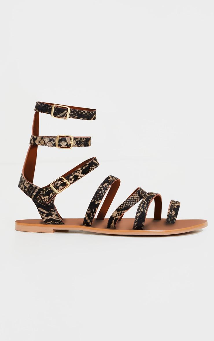 Snake Print Gladiator Ankle Strap Sandals 3