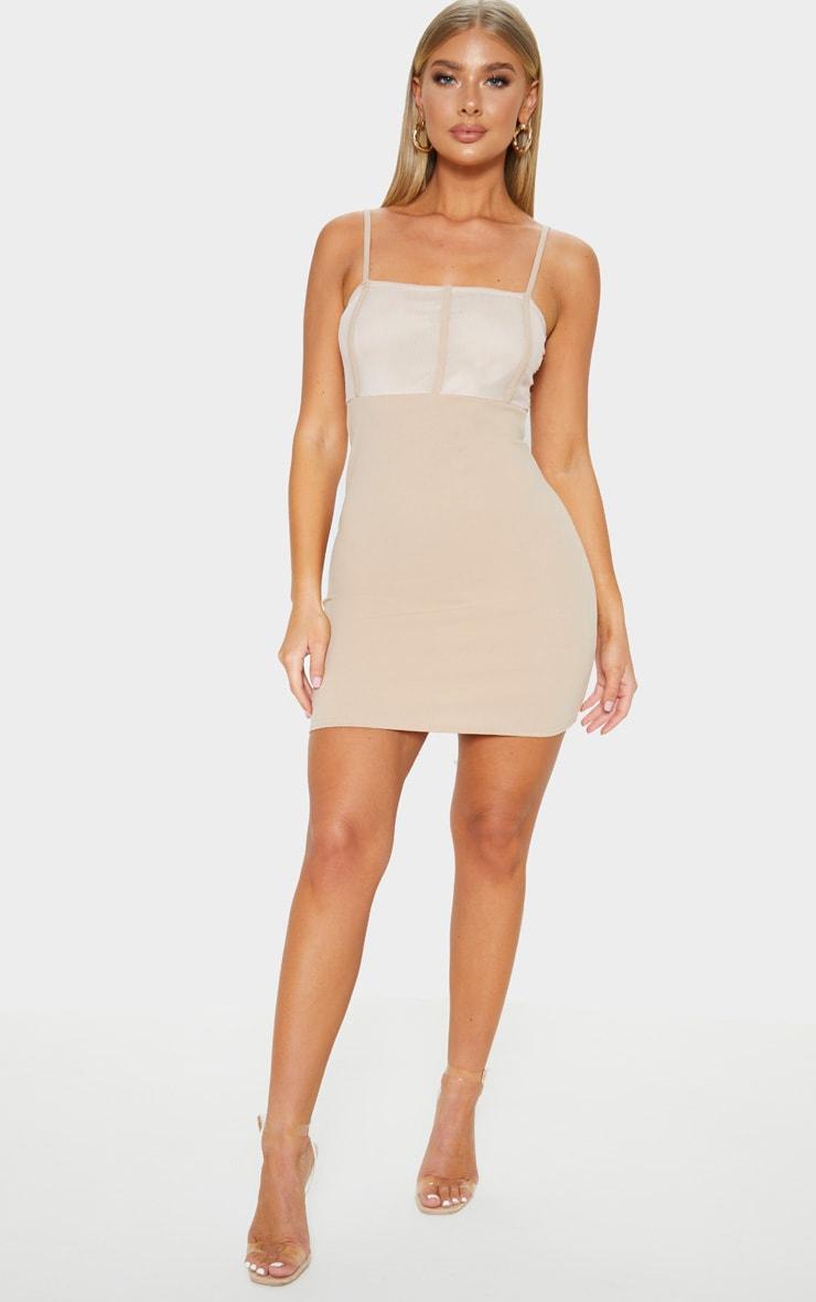 Stone Mesh Panelled Insert Bodycon Dress 1