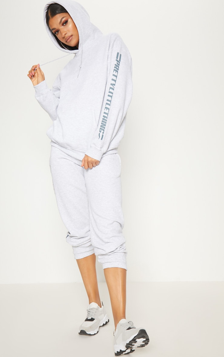 PRETTYLITTLETHING Grey Logo Stripe Oversized Hoodie 4