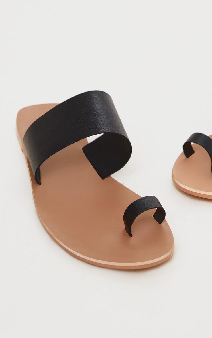 Black Toe Loop Single Leather Strap Mule Sandal 4