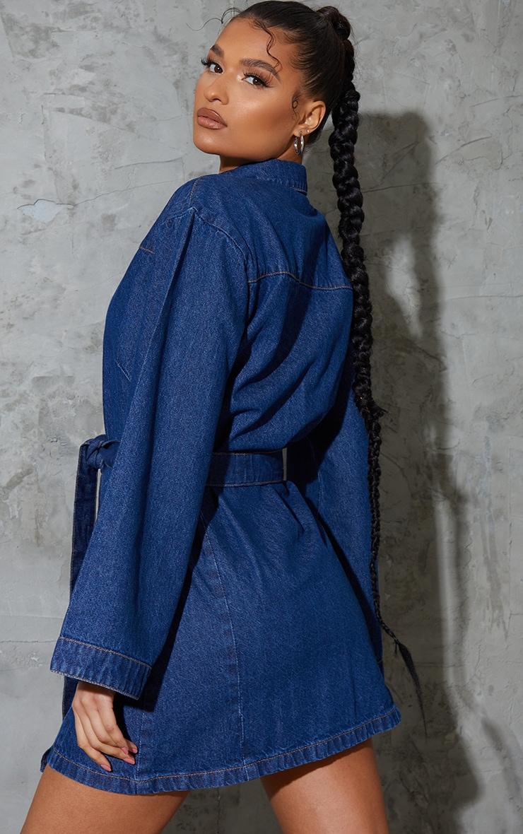 Robe en jean bleu moyennement délavée à manches cloches 2