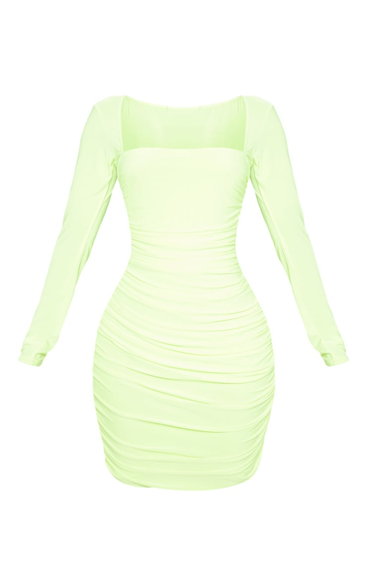 Shape Neon Yellow Slinky Square Neck Ruched Front Bodycon Dress 3