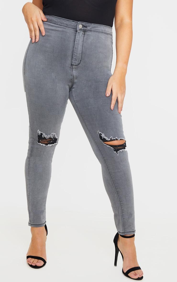PRETTYLITTLETHING Plus Grey Knee Rip Disco Skinny Jean 2