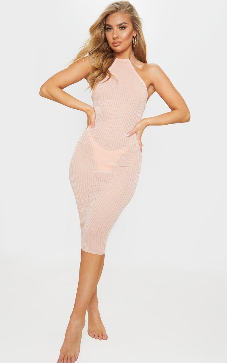 Peach Fine Knit Halterneck Midi Dress 3