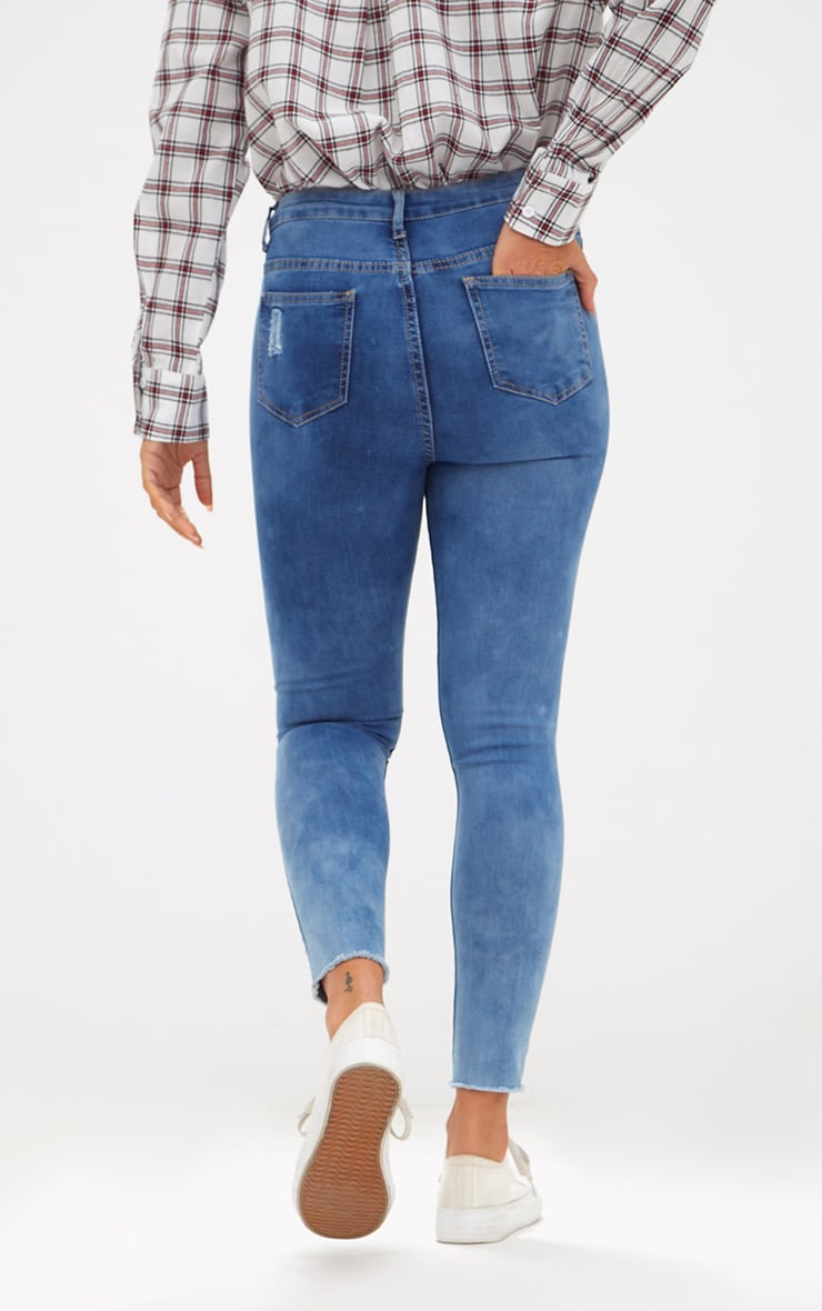 Mid Wash Double Knee Rip High Waisted Skinny Jean 4