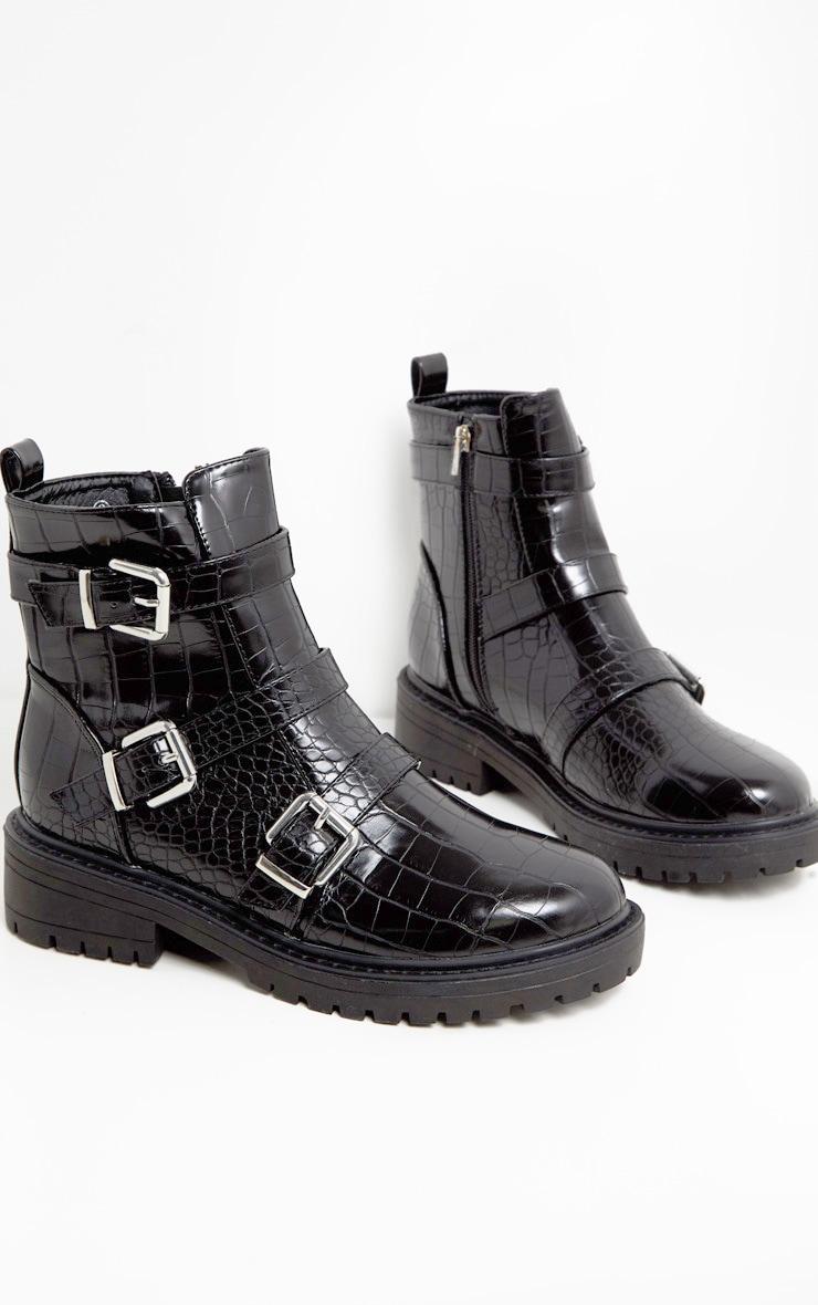 Black Triple Strap Buckle Biker Boot 2