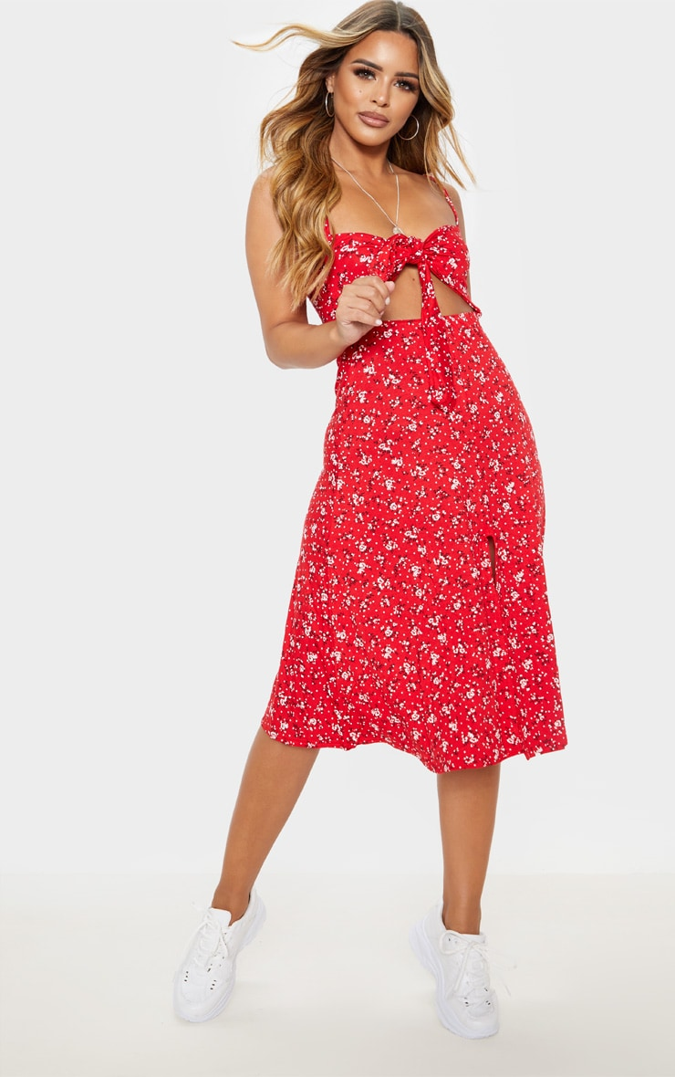Petite Red Ditsy Floral Tie Front Strappy Swing Dress 1