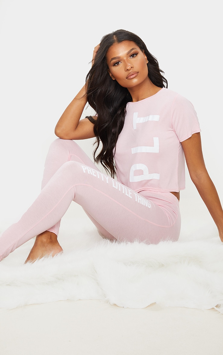 PRETTYLITTLETHING Pink Leggings PJ Set 1