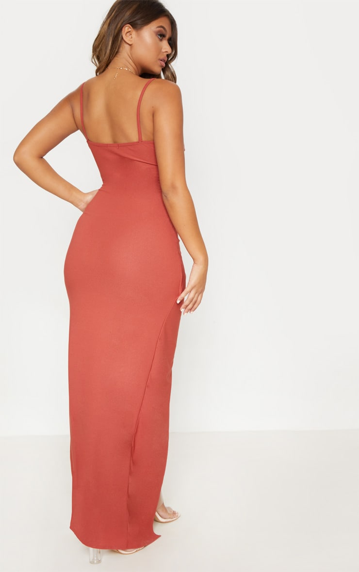 Terracotta Wrap Front Crepe Maxi Dress 2