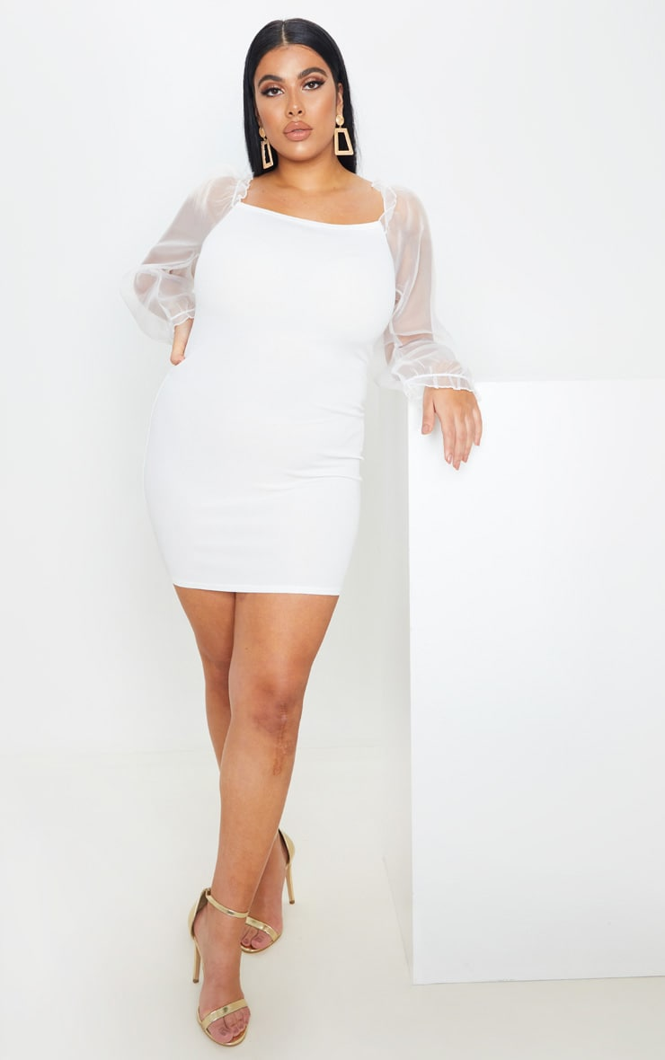 Plus Cream Long Sleeve Organza Style Bodycon Dress 4