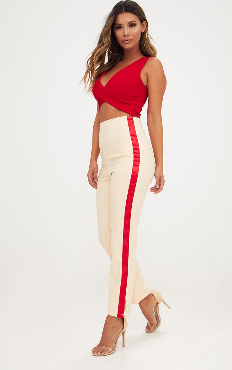 Nude Satin Stripe Formal Trousers 1