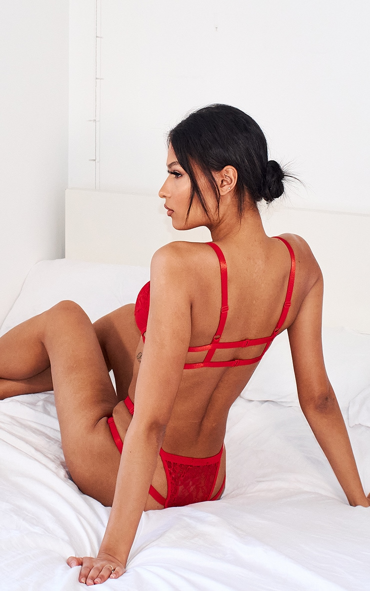 Red Strappy Harness Lace Bra And Panties Set 2