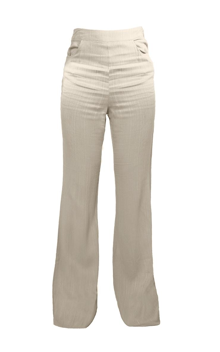 Pantalon jambes évasées vert sauge à rayures texturées et poches 5