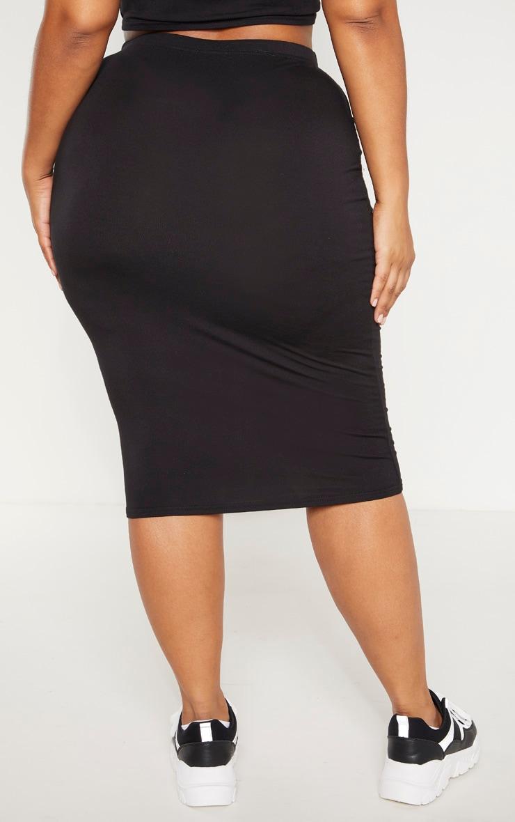 Plus Black Jersey Midi Skirt 4