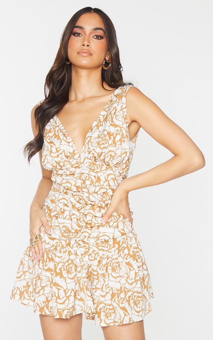 Camel Floral Print Plunge Ruched Skater Dress 1