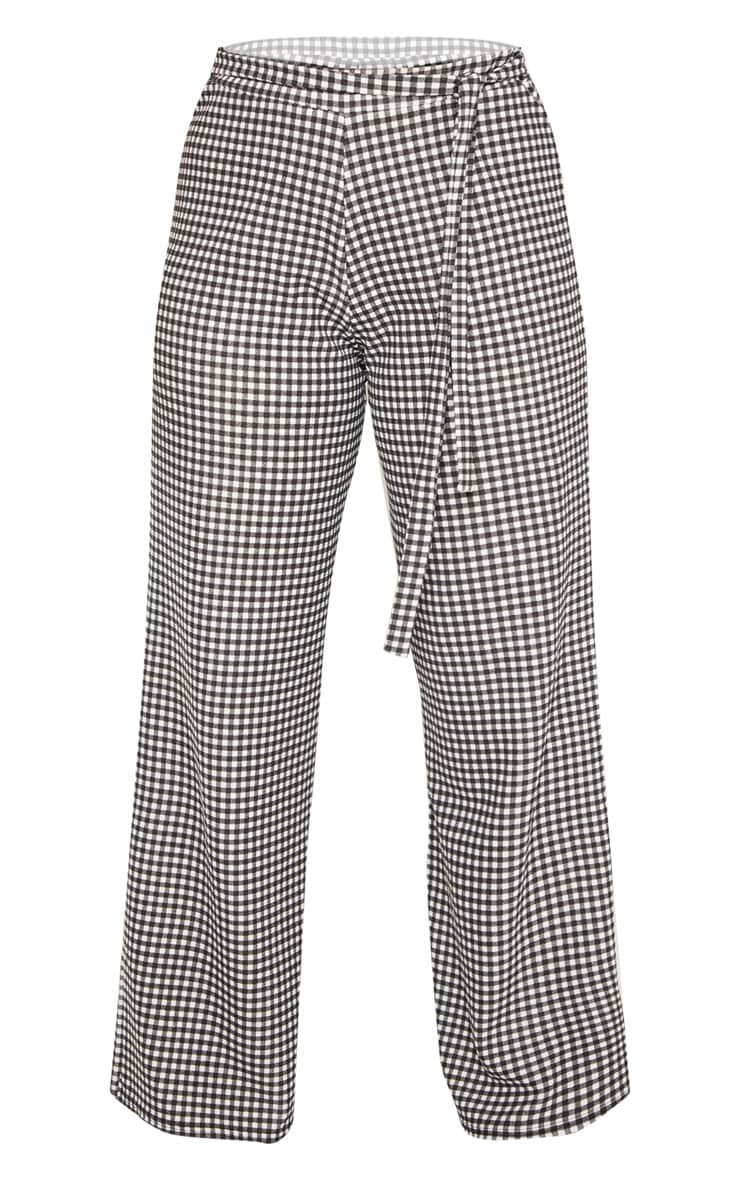 Plus Black Gingham Check Tie Waist Wide Leg Trouser  3