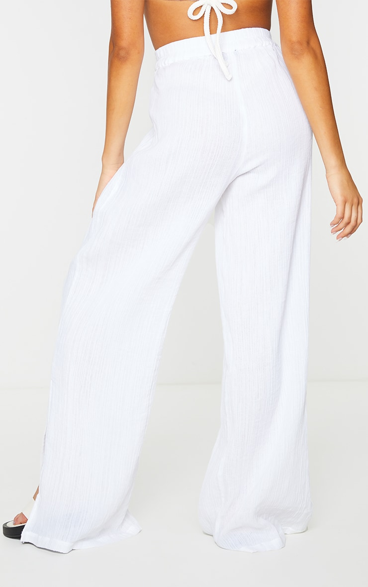 White Textured Cotton Split Hem Wide Leg Pants 3