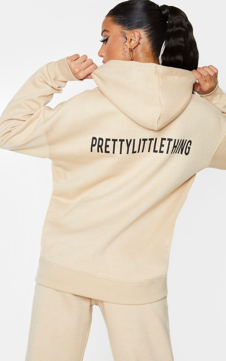 PRETTYLITTLETHING Stone Slogan Oversized Pocket Hoodie 2