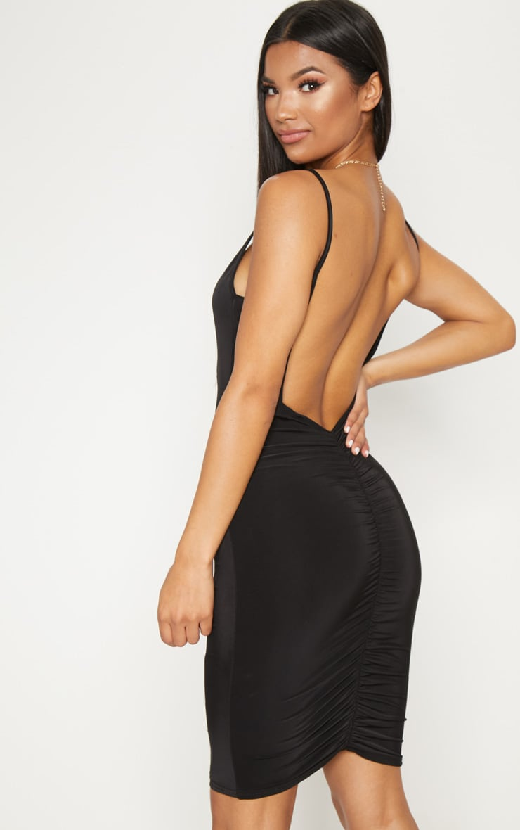 Black Slinky Ruched Scoop Back Bodycon Mini Dress 2