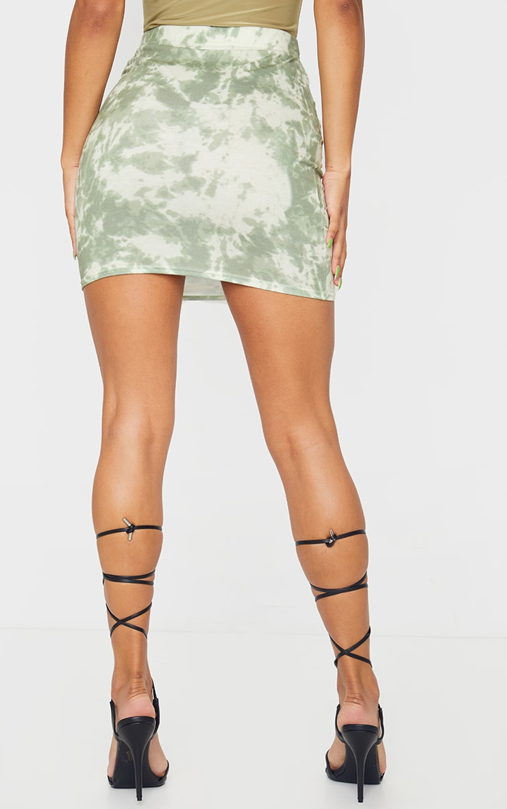 Sage Green Basic Tie Dye Mini Skirt 3