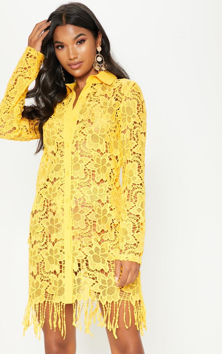 Yellow Sheer Crochet Shirt Dress