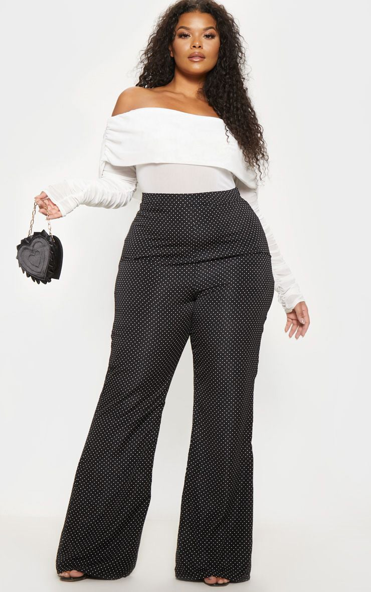 Plus Black Woven Polka Dot Wide Leg Trouser  1