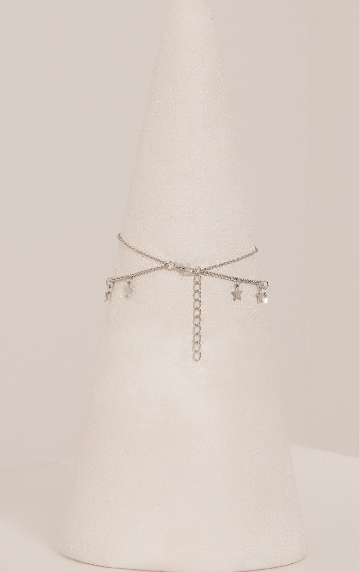 Laili Silver Double Layered Star Detail Anklet 3