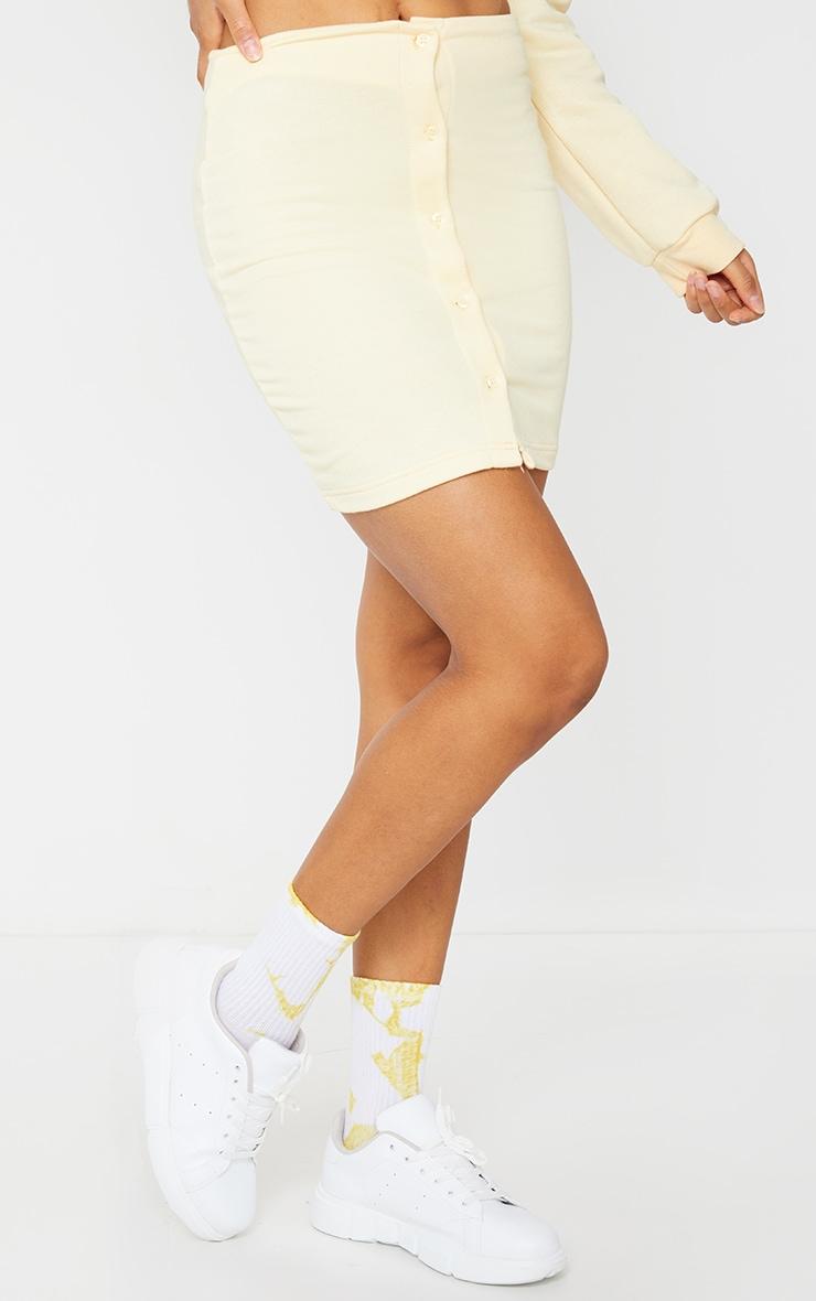 Cream Button Front Sweat Mini Skirt 2