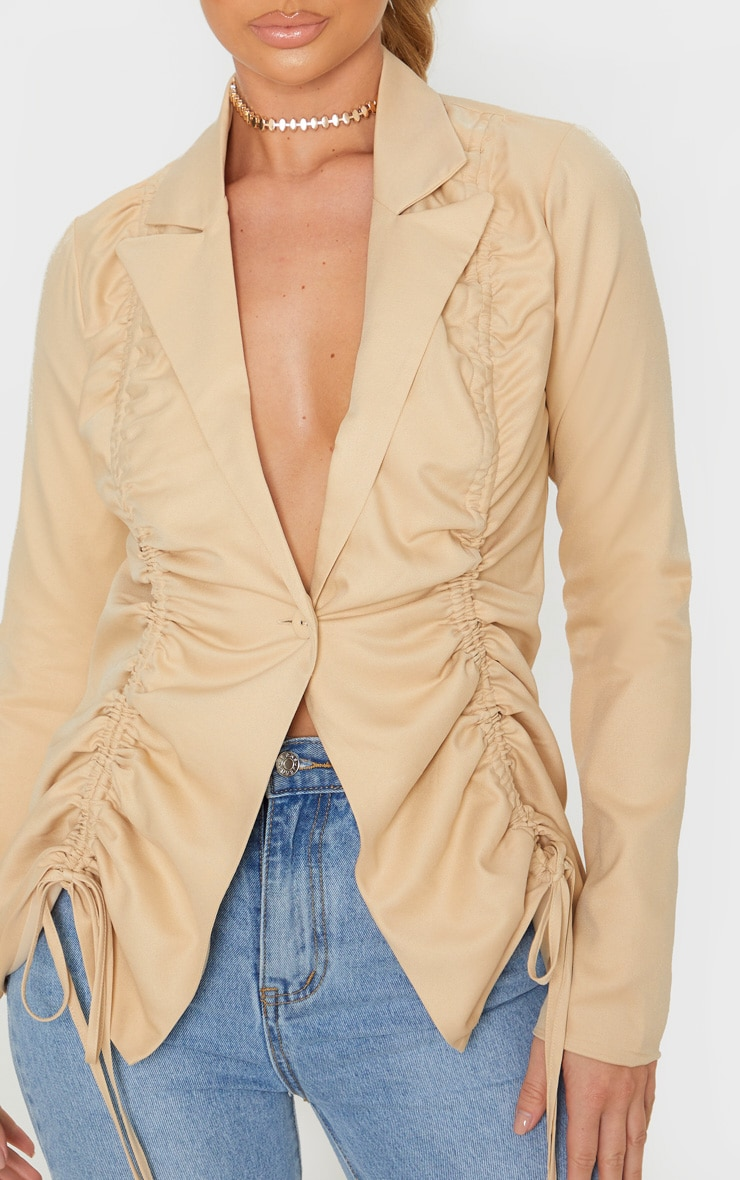 Stone Woven Ruched Detail Fitted Jacket 5