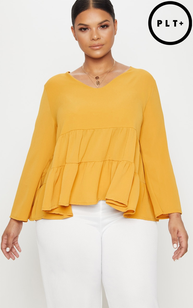 Plus Mustard Plunge Tiered Shirt 1