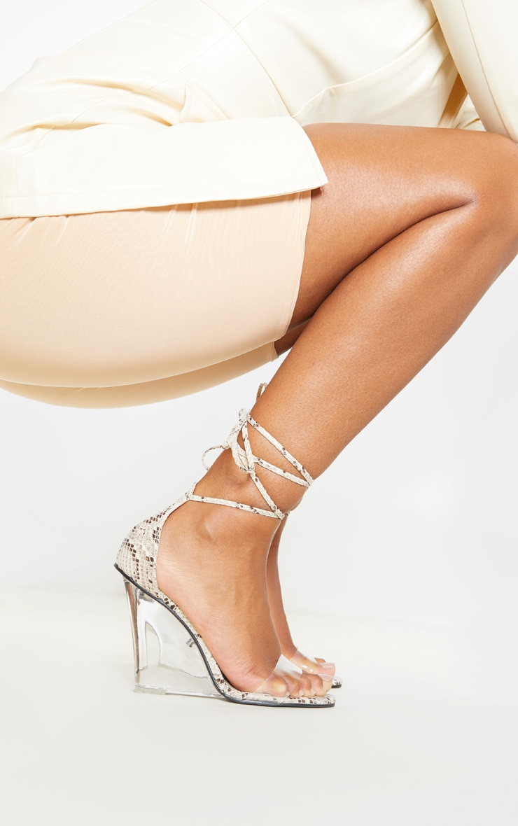 Snake Ankle Tie Clear Wedge 2
