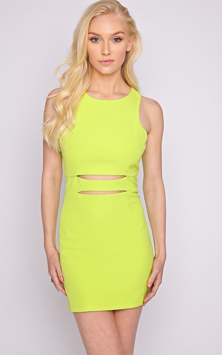 Blair Lime Cut Out Dress 1
