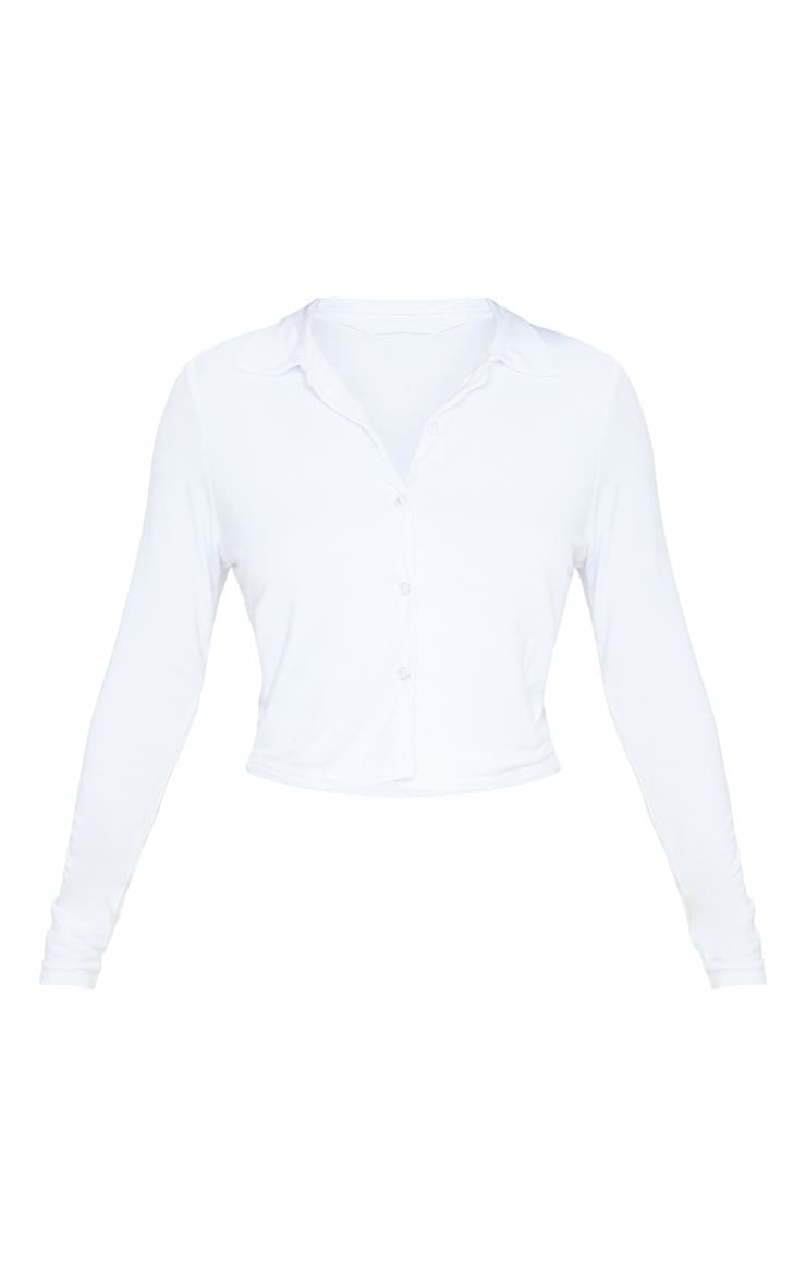 White Jersey Button Up Shirt 5